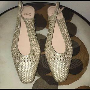 STUART WEITZMAN Gold Wicker Leather Flat Sandals